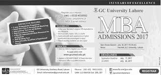 gc university lahore mba admission 2018 form online registration