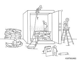 sketch of istored money in the safe with working little people