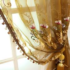 luxury fl embroidered sheer curtains for doors and windows