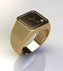ring men square initial signet gold ring signet ring men signet ring