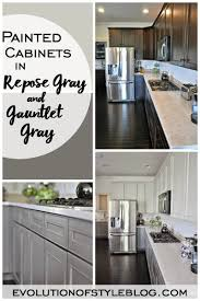 kitchen cabinets white top gray bottom painted cabinets in repose gray and gauntlet gray