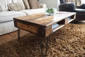 Rustic Coffee Table Diy Diy Pallet Skid Coffee Table With Metal Legs Pallet Furniture Diy