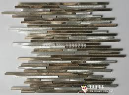 Online Get Cheap Gold Kitchen by Modern Strip Gold Brown Metal Mosaic Tiles Design Kitchen