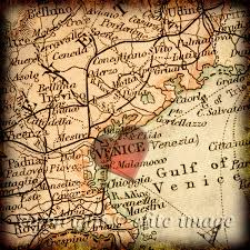 Map Store 8x8 Map Of Venice Italy With A Heart Shape With A Grunge