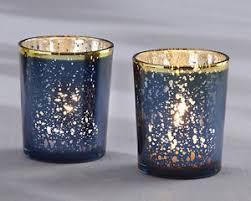 blue tea light candles navy blue gold mercury glass tea light candle holder bridal