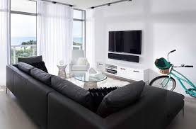 Living Rooms  Modern Minimal Living Room With Cozy Sofa And Large - Minimal living room design