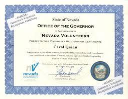 governor u0027s volunteer recognition certificate nevada volunteers