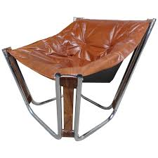 Canvas Sling Back Chairs by Sought After Brown Leather Chrome Rosewood Slingback Relling