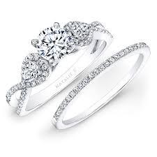 bridal set 14k white gold white diamond twisted shank bridal set with pear