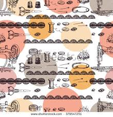Gift Wrapping Accessories - vintage pattern sewing accessories hand drawing stock vector