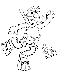 elmo snorkeling summer season coloring u0026