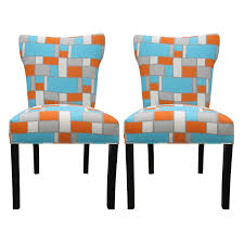 Blue Upholstered Dining Chairs Hopscotch Orange Blue Upholstered Dining Chairs Set Of 2