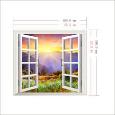 sunrise 3d artificial window pag wall decals hill view room