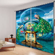 Peacock Curtains Peacock Luxury Home Decor 3d Blackout Curtains For Living Room