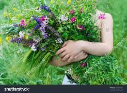 happy child summer kid big bouquet stock photo 365329952