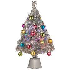 Fibre Optic Slim Christmas Trees - national tree company 2 6 ft silver fiber optic fireworks