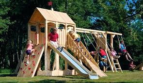 wooden playset plans how to build wood fort and swing set plans