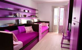 chic purple bedroom decor ideas with nice bedside tables cncloans