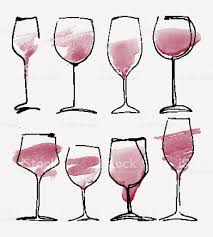 wine silhouette wine glass set collection sketched watercolor wineglasses and