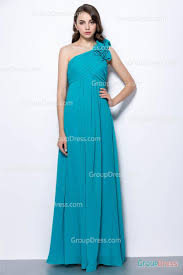 elegant a line one shoulder ruffled turquoise floor length chiffon