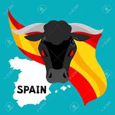 Bulls Flag Traditional Spanish Corrida Bull On Background Flag And Map