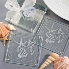 Beach Themed Gifts Shell Glass Coaster Wedding Favors Unique Wedding Favors
