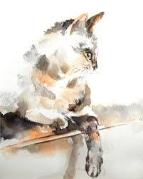 cat art print of original watercolor painting 8x10 by canotstop