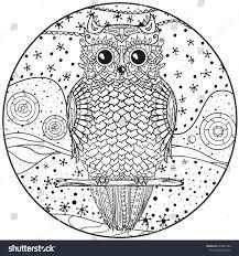 mandala owl design zentangle hand drawn stock vector 649627492