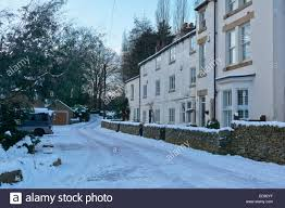 Snow At Home by Snow At The Cottages At Low Matlock Sheffield England Uk Stock