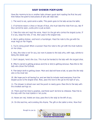 bridal shower gift poems baby shower pass the gift wblqual