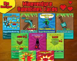 minecraft valentines cards minecraft etsy