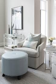 Light Blue Tufted Ottoman Gray Club Chair With Blue Stool Contemporary Living Room With