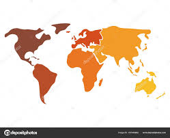 North And South America Map Blank by Multicolored World Map Divided To Six Continents In Different
