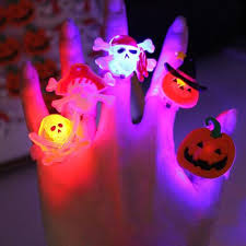 2017 new led lighting finger ring flashing halloween rings kids