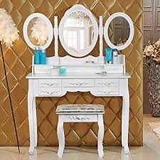 popamazing shabby chic white dressing table with oval mirror and