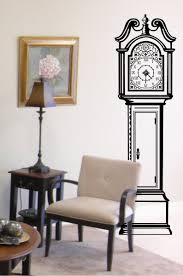 large grandfather clock silhouette wall stickers clock background antique grandfather clock chair vinyl wall decal by infinitydecals 62 00