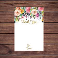 printable note cards pdf floral thank you card floral gold thank you card thank you card