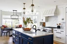 white kitchen cabinets with blue island kitchen of the week bright space with a bold blue island