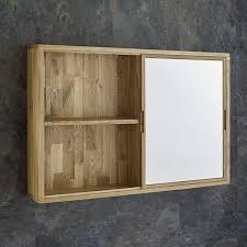 Sliding Bathroom Mirror Cabinet Sliding Door 80cm Wide Solid Oak Mirror Bathroom Cabinet And Shelves