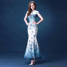 beautiful dress blue fashion lace cheongsam dresses beautiful