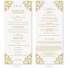 gold wedding programs wedding program template instant edit your wording