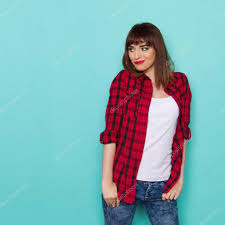cheeful beautiful in lumberjack shirt watching u2014 stock photo