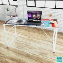table de bureau en verre bureau verre trempe achat bureau verre trempe pas cher rue du