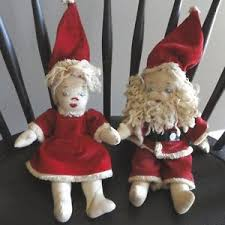 Santa Claus Dolls Handmade - vtg handmade mr mrs santa claus dolls emb faces moveable
