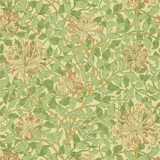 William Morris Wallpaper by Honeysuckle Wallpaper Green Beige Pink 210435 William Morris