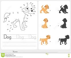 connect dots and match dog with shadow stock vector image 76090090