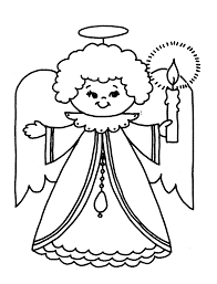 christmas angel with candle coloring page angel crafts pinterest