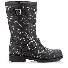 leather biker boots black leather biker boots with graphic star studded embellishment