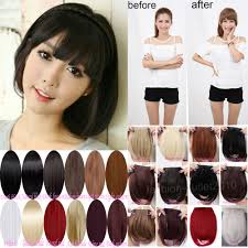 hair clip poni sweet fringe bangs front clip in hair extensions clip on