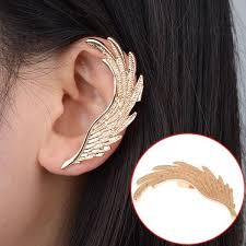 cuff earring 2018 hot fashion single girl ear cuff earrings angel wings feather